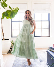 Sid Pocketed Tiered Maxi Dress - Pistachio view 6