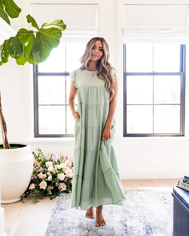 Sid Pocketed Tiered Maxi Dress - Pistachio view 7