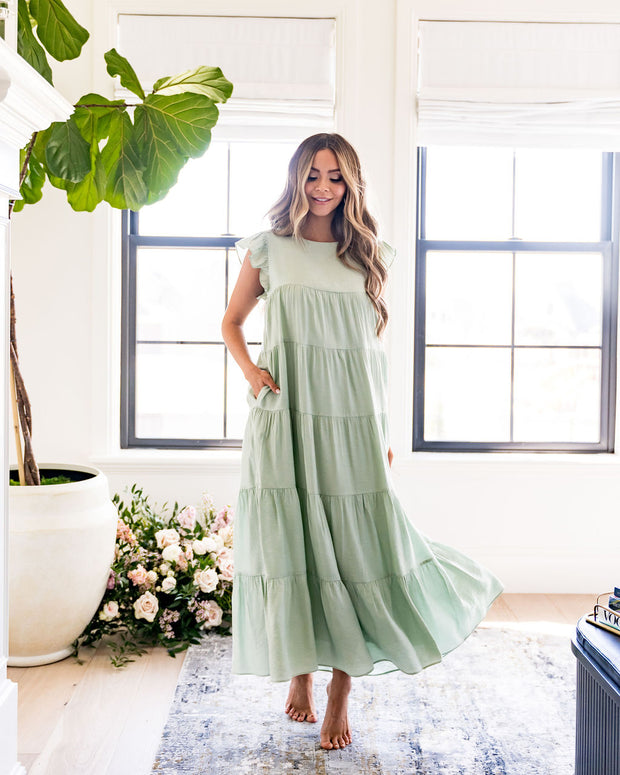 Sid Pocketed Tiered Maxi Dress - Pistachio view 3