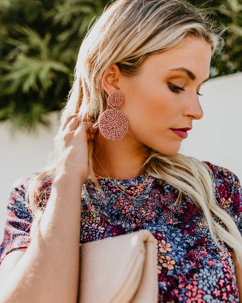 Squad Goals Beaded Earrings - Dusty Rose