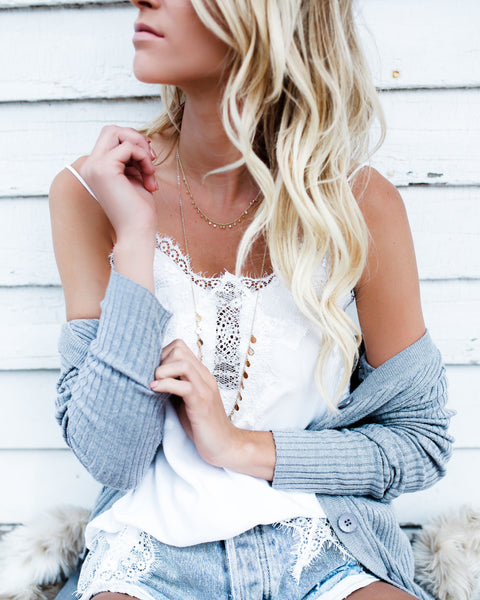 PREORDER - Darling You Lace Cami Tank - White