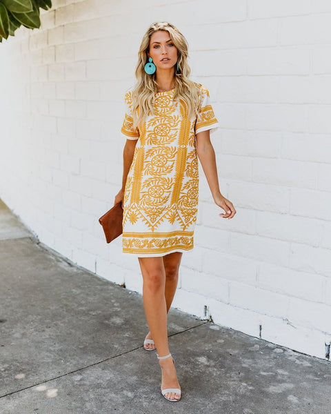 Sunseeker Embroidered Shift Dress - Mustard