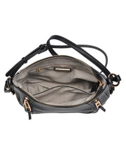 Sadie Faux Leather Crossbody Saddle Bag - Black view 4