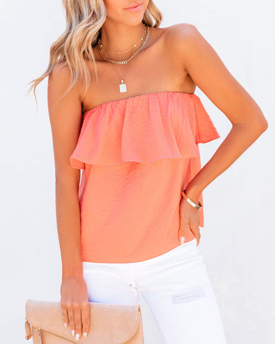 Sana Strapless Ruffle Blouse - Coral