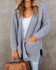 Scavenger Hunt Pocketed Chenille Cardigan - Grey