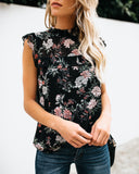 Moonlight Serenade Floral Ruffle Blouse
