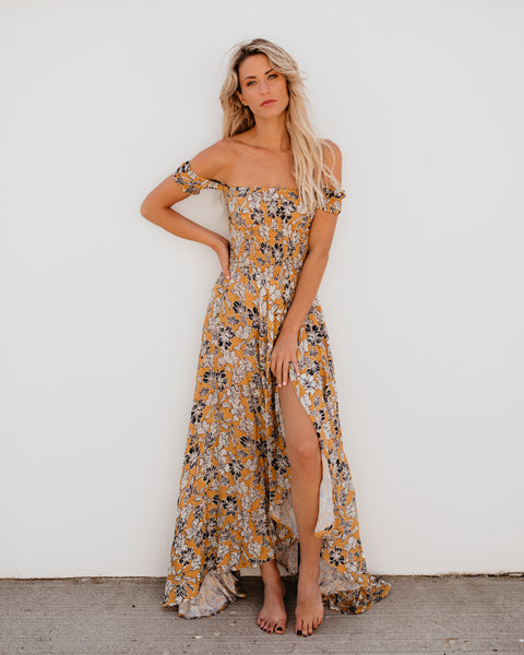 Jaune Floral Ruched Maxi Dress