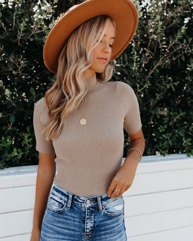 September Mock Neck Ribbed Knit Top - Taupe