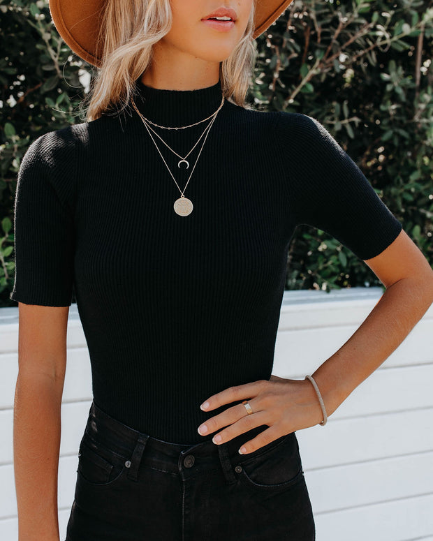 September Mock Neck Ribbed Knit Top - Black