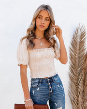 Serenity Cotton Smocked Crop Top view 5