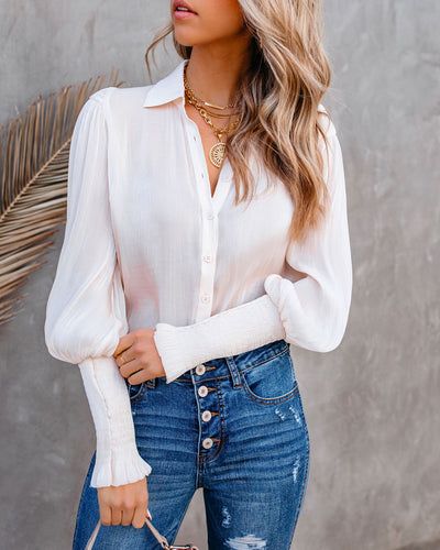 Shine Through Smocked Button Down Blouse