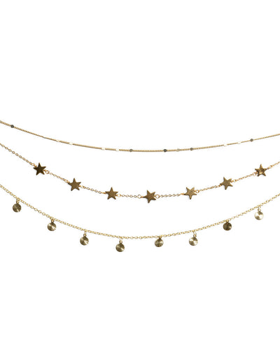 Shooting Star Layered Disc Necklace