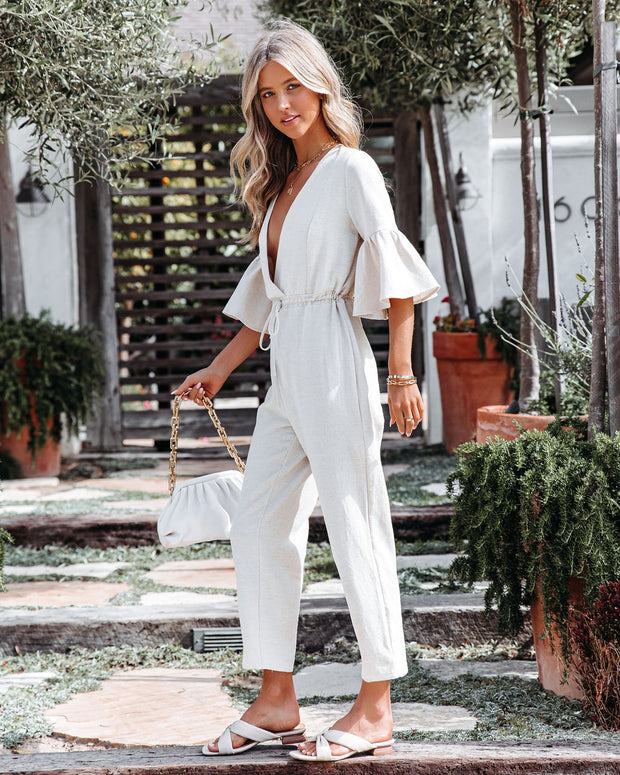 Shore Thing Cotton + Linen Jumpsuit - Natural view 5