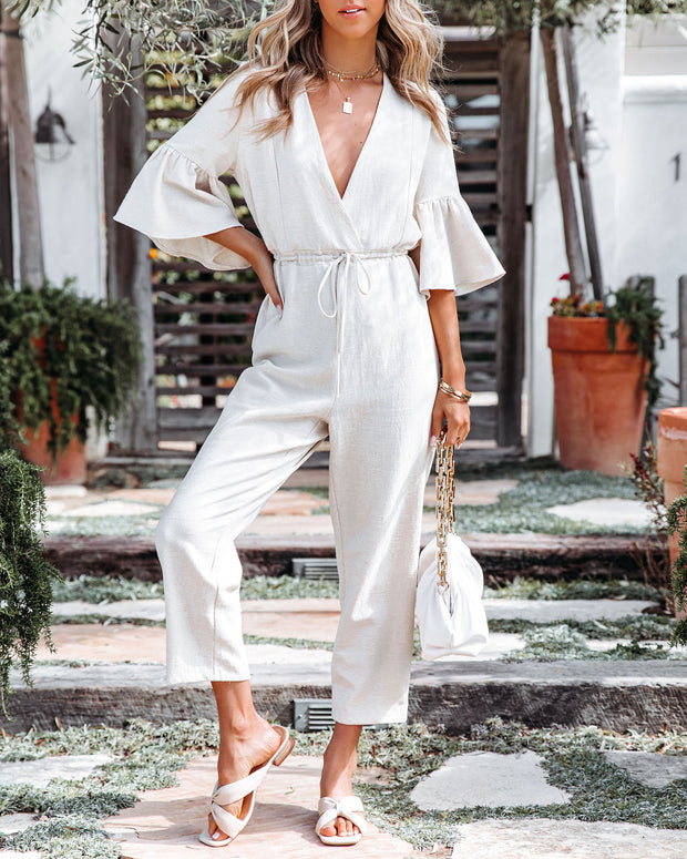 Shore Thing Cotton + Linen Jumpsuit - Natural view 6