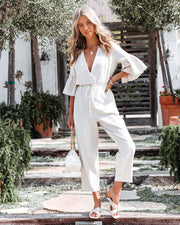 Shore Thing Cotton + Linen Jumpsuit - Natural view 1