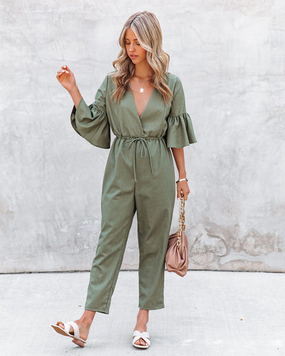 Shore Thing Cotton + Linen Jumpsuit - Olive