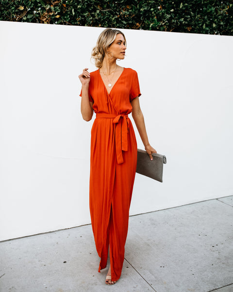 Short Sleeve Solid Bardot Wrap Maxi Dress - Terracotta