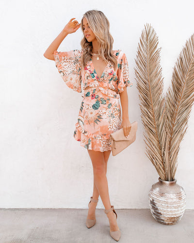Shortcake Floral Ruffle Cutout Dress