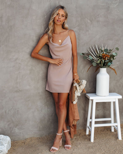Sienna Cowl Neck Mini Slip Dress - Beige