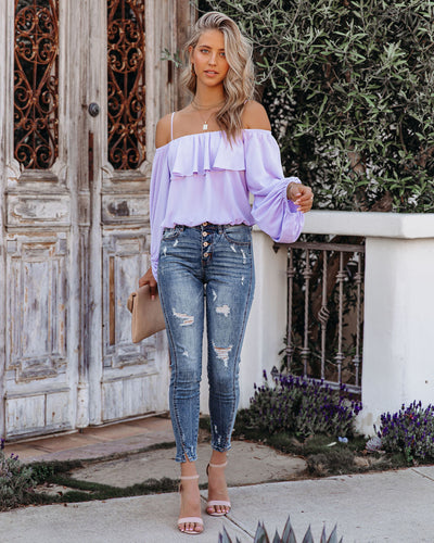 Sincere Balloon Sleeve Cold Shoulder Blouse - Pastel Lavender