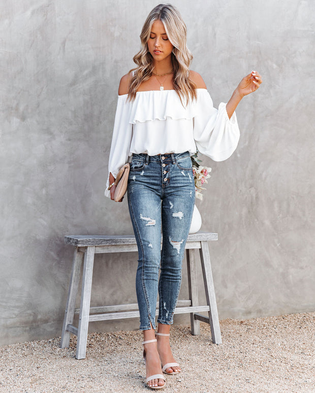 Sincere Balloon Sleeve Cold Shoulder Blouse - White view 7