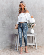 Sincere Balloon Sleeve Cold Shoulder Blouse - White view 8