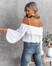 Sincere Balloon Sleeve Cold Shoulder Blouse - White view 2