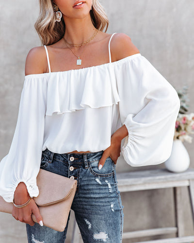Sincere Balloon Sleeve Cold Shoulder Blouse - White