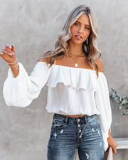 Sincere Balloon Sleeve Cold Shoulder Blouse - White view 1