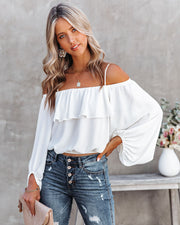 Sincere Balloon Sleeve Cold Shoulder Blouse - White view 9