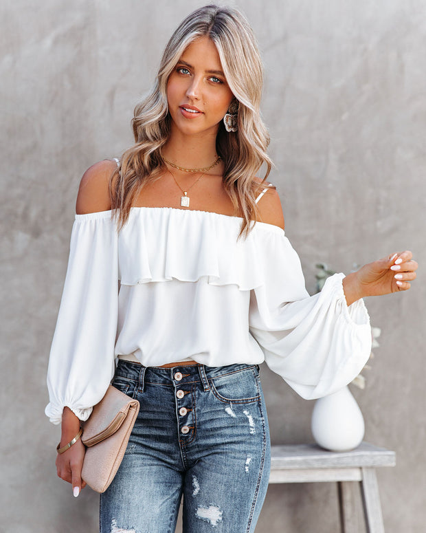 Sincere Balloon Sleeve Cold Shoulder Blouse - White view 10