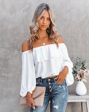 Sincere Balloon Sleeve Cold Shoulder Blouse - White view 6