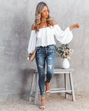 Sincere Balloon Sleeve Cold Shoulder Blouse - White view 5
