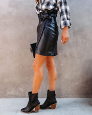 Smalls Faux Leather Wrap Skirt - FINAL SALE view 10