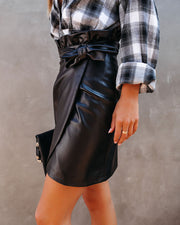 Smalls Faux Leather Wrap Skirt - FINAL SALE view 6