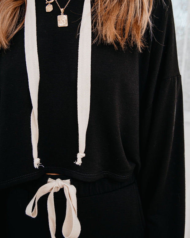 Snowed In Cropped Knit Hoodie - Black - FINAL SALE view 4