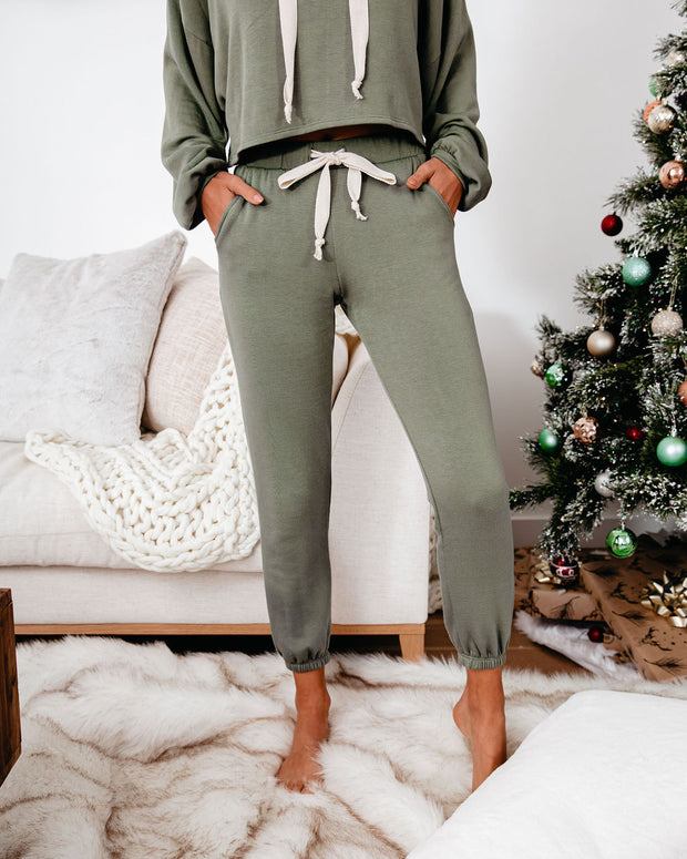 Snowed In Pocketed Knit Joggers - Dark Olive - FINAL SALE view 1