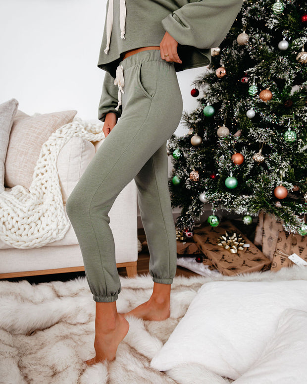 Snowed In Pocketed Knit Joggers - Dark Olive - FINAL SALE view 7