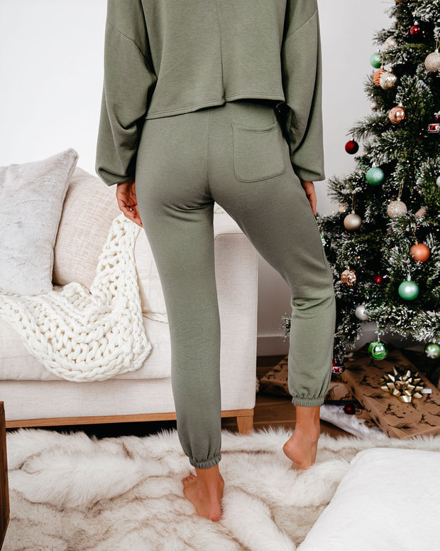 Snowed In Pocketed Knit Joggers - Dark Olive - FINAL SALE view 2