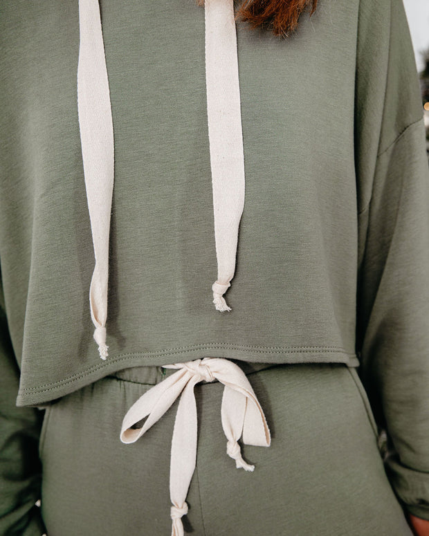 Snowed In Cropped Knit Hoodie - Dark Olive - FINAL SALE view 4