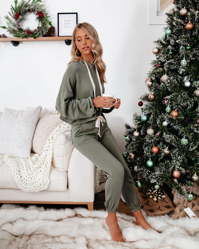 Snowed In Pocketed Knit Joggers - Dark Olive - FINAL SALE