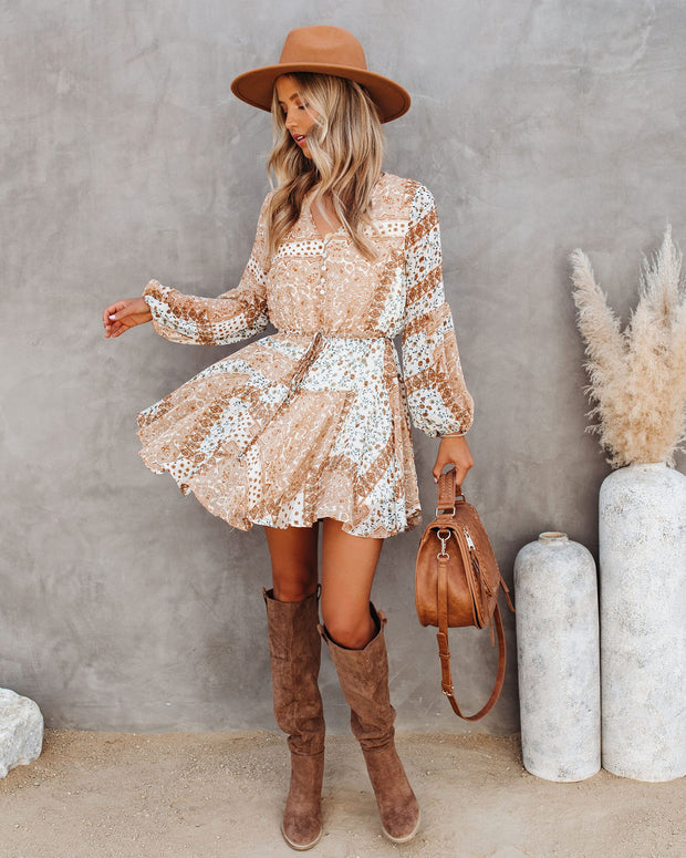 Southbound Button Down Patchwork Dress