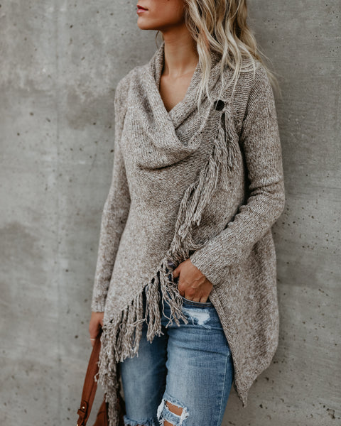 Speckled Fringe Cardigan - Caramel - FINAL SALE