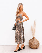 Spendy Snake Print Cutout Midi Dress