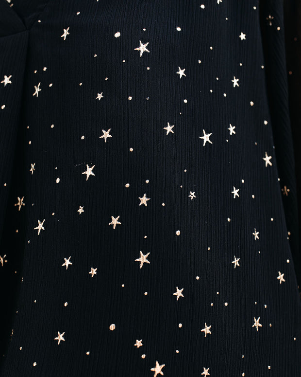 Stars In Her Eyes Embellished Blouse - Black