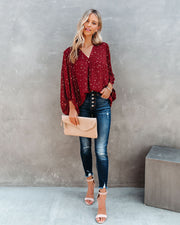 Stars In Her Eyes Embellished Blouse - Rust