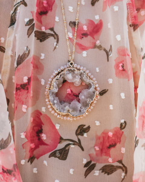 Majestique Beaded Druzy Necklace - Blush
