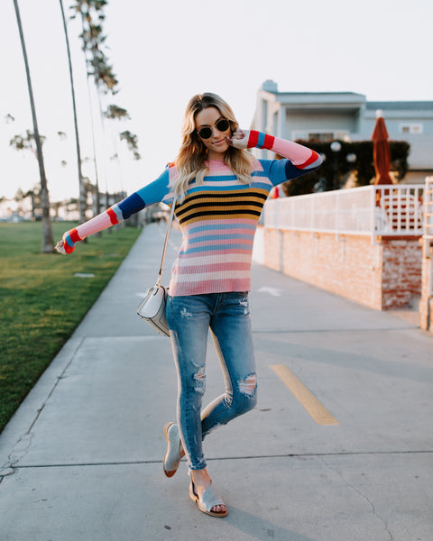 Three's Company Striped Knit Sweater
