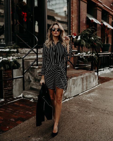 No Brainer Striped Tie Dress