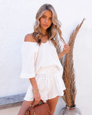 Sumner Cotton Pocketed Frayed Shorts - White view 10